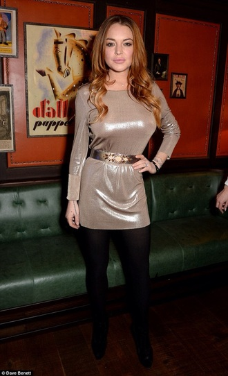 tights celebrity black leggings metallic metallic dress waist belt lindsay lohan