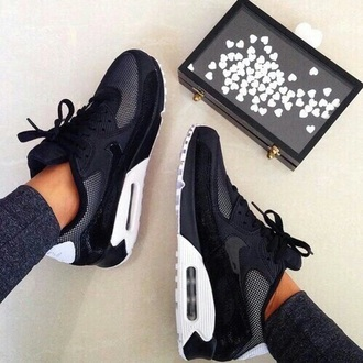 shoes nike air max nike air max 90 black white nike shoes nike air women sportswear black and white nike running shoes fashion bag style sneakers white backless gold and whitw black. hair accessory jeans sliver nikes grey love nike sneakers black white grey