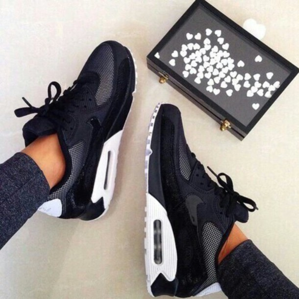 shoes nike air max nike air max 90 black white nike shoes nike air women sportswear black and white nike running shoes air max fashion bag style sneakers white backless gold and whitw black. hair accessory jeans sliver nikes grey love black and white nike sneakers black white grey women