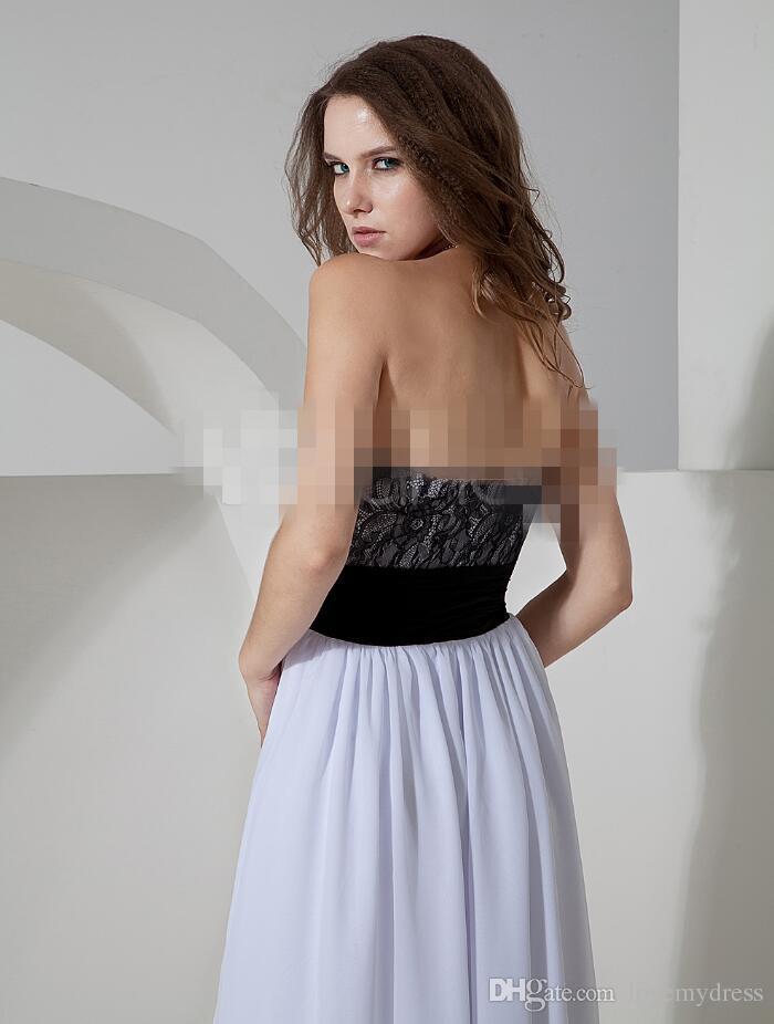 Dresses Black White Chiffon Hi Lo Prom Dress Lace Neck Tiered Skirts