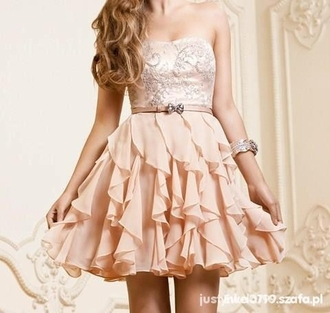 dress prom dress short sleeveless peach dress