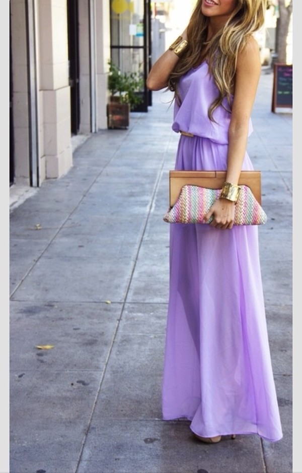 dress purple dress maxi dress lilac dress long dress bag