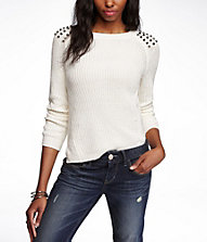 STUDDED SIDE SLIT SHAKER KNIT SWEATER | Express