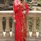 Boho gown - red dress with long sleeves