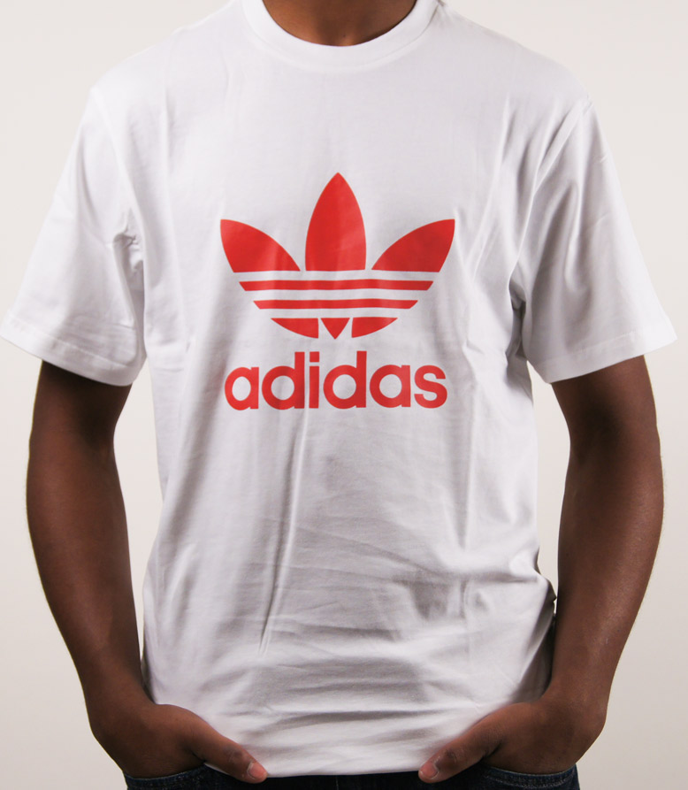 f682199a7222 White Adidas T Shirt With Red Logo thehampsteadfactory.co.uk