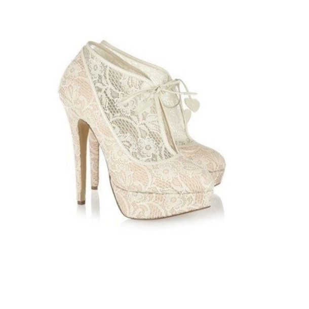 White Lace Shoes - Rw Shoes Lace Heels Ankle Boots Cute White