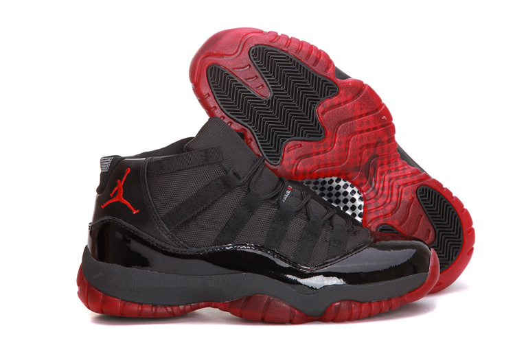 Top 2013 Air Jordan 11 Mens in Black with Red Sole for Sale