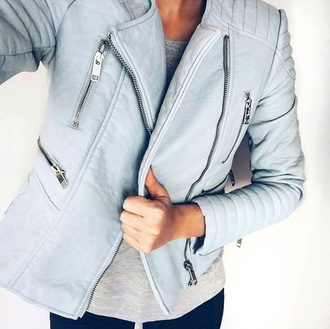 jacket light blue leather zip perfecto leather jacket