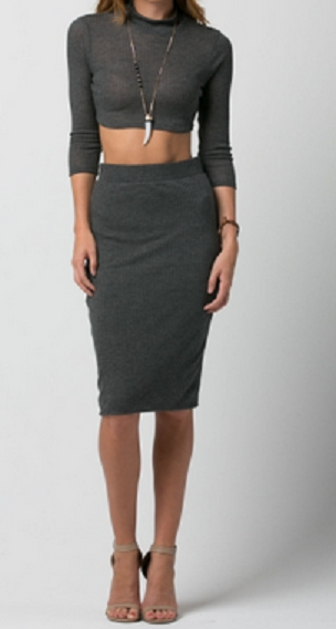 Long sleeve crop top & midi skirt