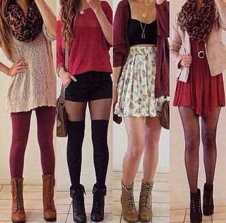 fall outfits floral skirt floral skater skirt fine knit jumper red sweater red dress combat boots cardigan leopard print scarf