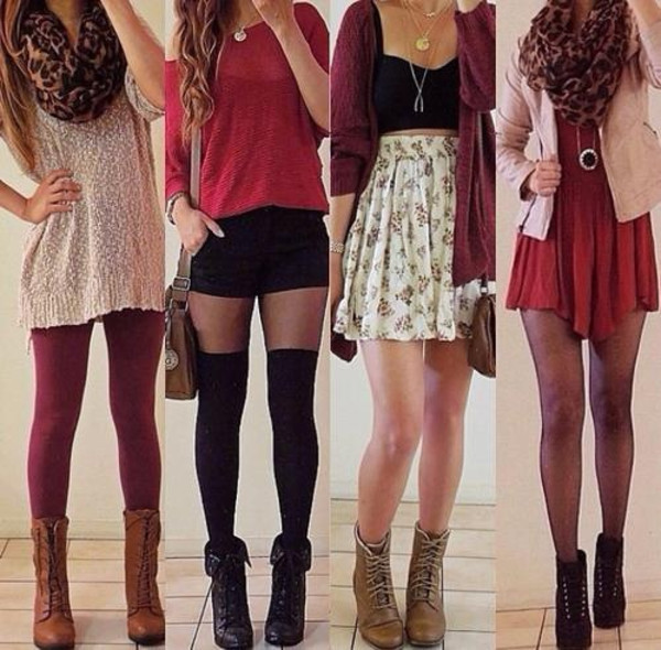fall outfits floral skirt floral skater skirt fine knit jumper red sweater red dress combat boots cardigan leopard print scarf leopard dress