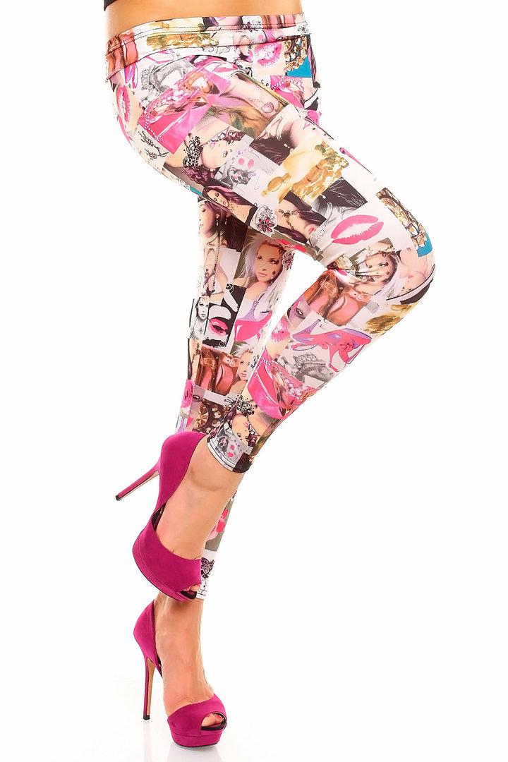 Trendy leggings mit fotoprint creme/beige/pink gr. uni (34/36/38)