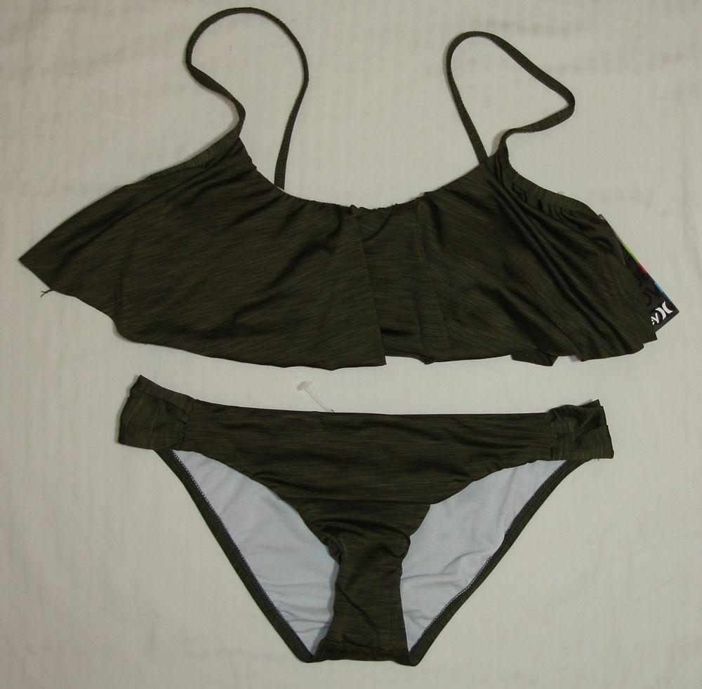 Hurley Swimsuit Bikini Crop Top Flounce Farrah Look Sz L $90 Olive Green | eBay