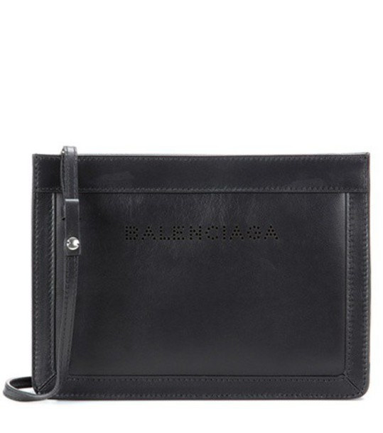 Balenciaga Navy Small Leather Shoulder Bag in black