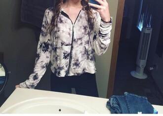 jacket sweater sweatshirt blue tie dye zip up acid wash
