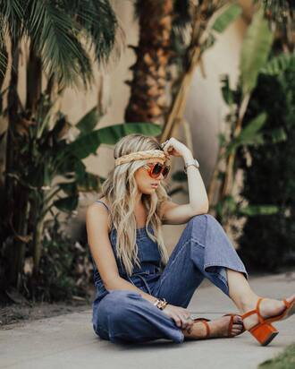 jumpsuit overalls tumblr dungarees denim overalls denim sandals mid heel sandals boho sunglasses headband shoes