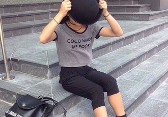 shirt black coco chanel shirt chanel classy grey t-shirt