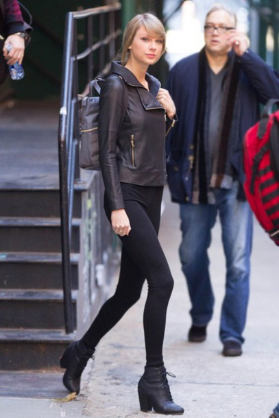 shoes taylor swift boots ankle boots fall outfits leather jacket jacket
