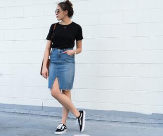 skirt denim skirt t-shirt vans sneakers blogger blogger style shoulder bag