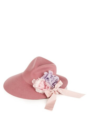 asymmetrical hat fedora pink