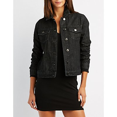 Fringe-Trim Denim Jacket | Charlotte Russe