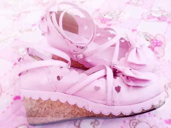 heart shoes kawaii lolita cork heels