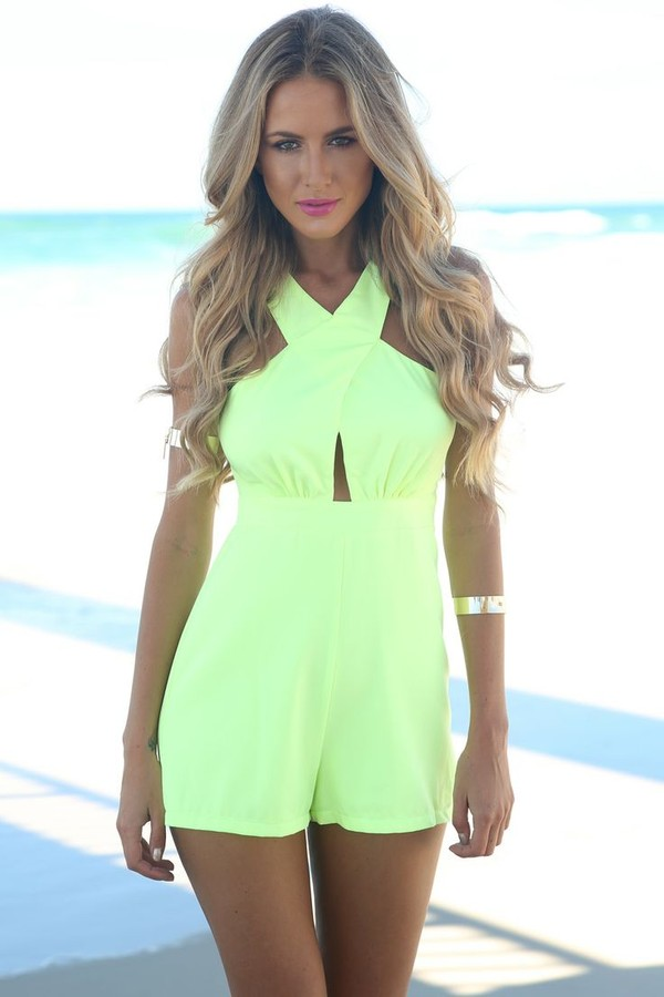 shorts jumpsuit green women jumpsuit backless hollow out summer outfits sexy backless jumpsuit sleeveless pierced neon yellow romper coral or black romper
