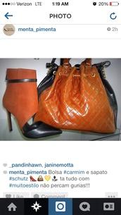 shoes,orange,pointed toe,schutz