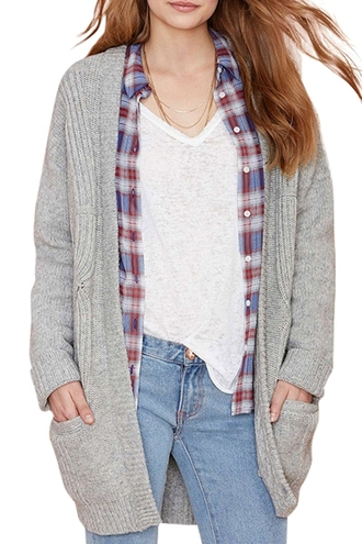 cardigan grey grey sweater grey cardigan plaid tartan casual streetwear knitwear knitted cardigan denim jeans plaid shirt fall outfits fall sweater fall cardigan knitted sweater streetstyle white zaful 90s style high waisted jeans comfy