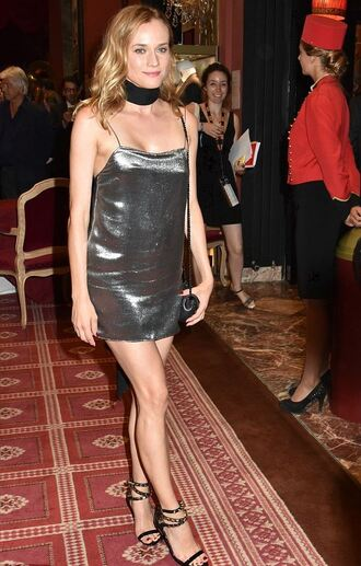 dress metallic dress mini dress metallic diane kruger sandals silver silver dress