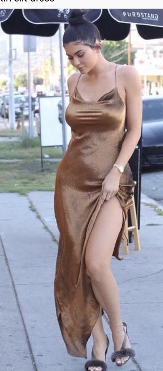 dress bronze kylie jenner dress