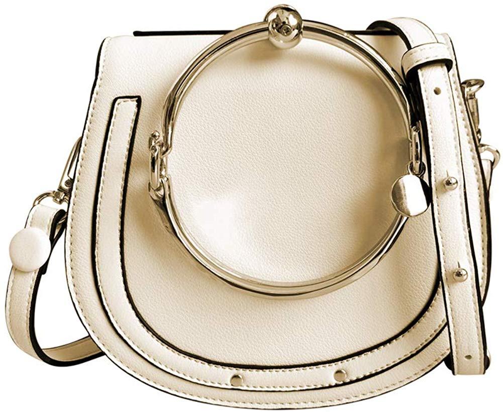 Women Punk Circular Ring Handle Handbags Small Round Purse Crossbody Bags for Girls (Beige): Handbags: Amazon.com