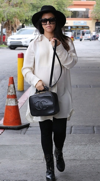 shirt dress tunic dress kourtney kardashian fall outfits boots hat streetstyle bag shoes