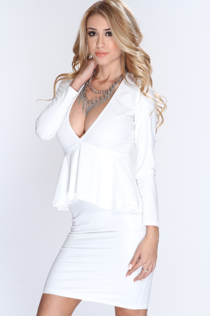 White Faux Leather Peplum Sexy Party Dress