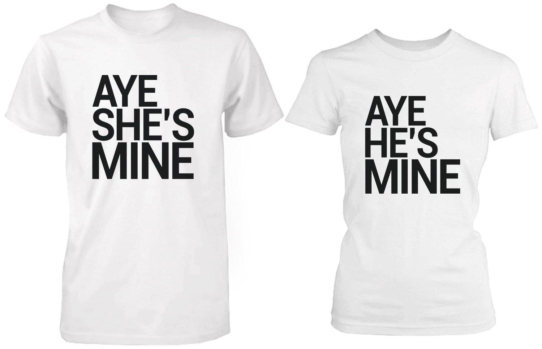 Black t shirt amazon - Amazon Com Matching Couple Shirts Aye She S He S Mine White Cotton Graphic T Shirts Clothing
