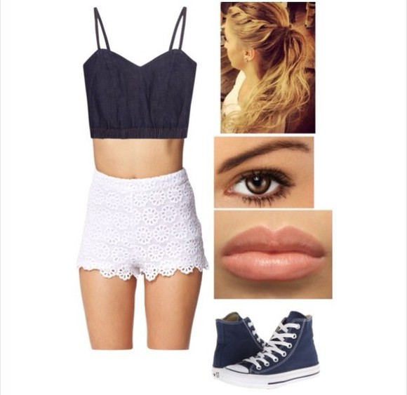 crochet shorts pants denim crop top blue and white converse pony tail natural makeup look