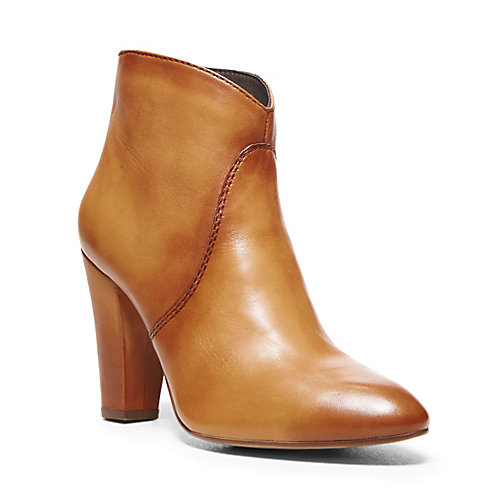 TOPANGAA COGNAC LEATHER women's bootie mid casual - Steve Madden