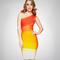 Bqueen mixcolor one shoulder bandage dress h833