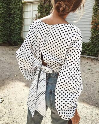 top tumblr bow top bow puffed sleeves polka dots long sleeve crop top long sleeves crop tops