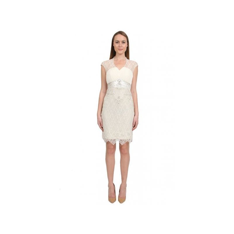 Sue Wong - Pleated Chiffon Bodice Dress in Ivory Cocktail Dress - Designer Party Dress & Formal Gown