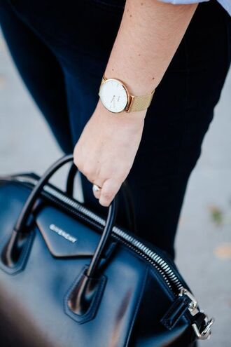 bag tumblr watch gold watch black bag