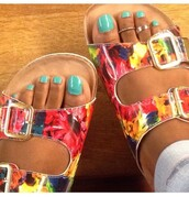 shoes,birkenstocks,flat sandals,floral shoes,multicolor