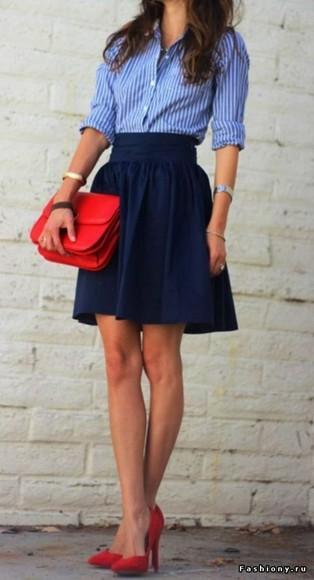 button up blouse preppy skater skirt red heels shirt туфли bag shoes skirt dark blue blue skirt