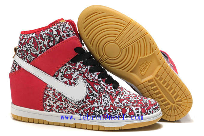 Discount Nike Womens Dunk Sky Hi Qs Liberty Hidden Wedge Heel Sport Red Sail For Sale