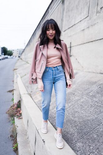the fancy pants report blogger jacket top jeans shoes bag pink jacket winter outfits sneakers