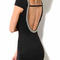 Black round neck backless polished decor party dress