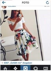 skirt,floral print skater skirt,floral skirt,white floral skirt with flowers,skater skirt,shirt
