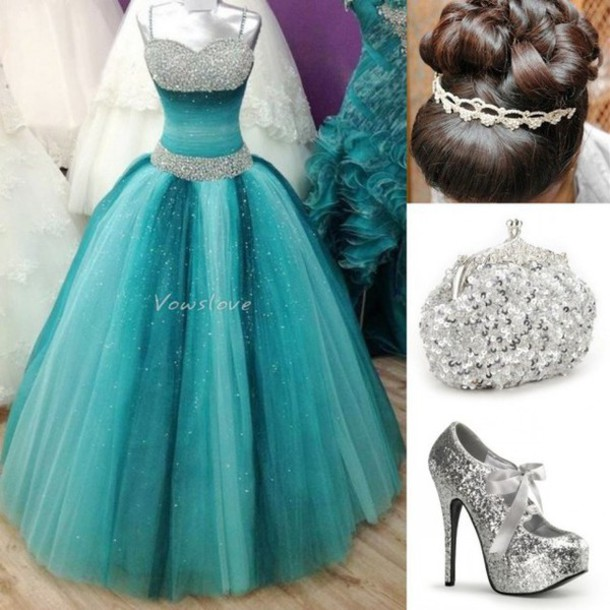 dress, turquoise dress, blue green prom dress, beaded prom dress ...