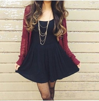 dress black dress burgundy sweater