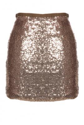 Ball drop countdown sequin mini skirt in gold